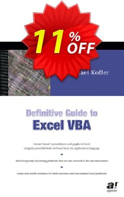 Definitive Guide to Excel VBA - Kofler  Coupon, discount Definitive Guide to Excel VBA (Kofler) Deal. Promotion: Definitive Guide to Excel VBA (Kofler) Exclusive Easter Sale offer for iVoicesoft
