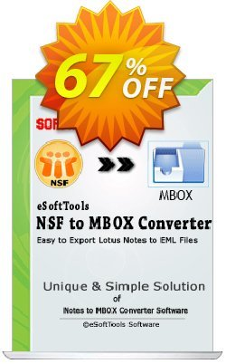 eSoftTools NSF to MBOX Converter Coupon, discount Coupon code eSoftTools NSF to MBOX Converter - Personal License. Promotion: eSoftTools NSF to MBOX Converter - Personal License offer from eSoftTools Software