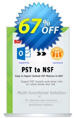 eSoftTools PST to NSF Converter Coupon, discount Coupon code eSoftTools PST to NSF Converter - Personal License. Promotion: eSoftTools PST to NSF Converter - Personal License offer from eSoftTools Software