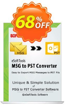 eSoftTools MSG to PST Converter Coupon, discount Coupon code eSoftTools MSG to PST Converter - Personal License. Promotion: eSoftTools MSG to PST Converter - Personal License offer from eSoftTools Software
