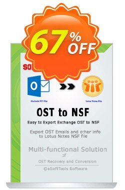 eSoftTools OST to NSF Converter Coupon, discount Coupon code eSoftTools OST to NSF Converter - Personal License. Promotion: eSoftTools OST to NSF Converter - Personal License offer from eSoftTools Software