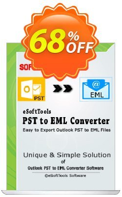 eSoftTools PST to EML Converter Coupon, discount Coupon code eSoftTools PST to EML Converter - Personal License. Promotion: eSoftTools PST to EML Converter - Personal License offer from eSoftTools Software