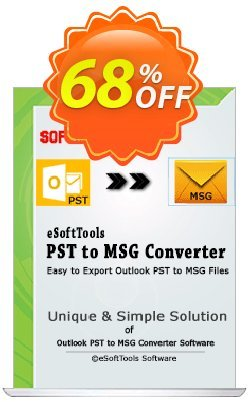 eSoftTools PST to MSG Converter Coupon, discount Coupon code eSoftTools PST to MSG Converter - Personal License. Promotion: eSoftTools PST to MSG Converter - Personal License offer from eSoftTools Software
