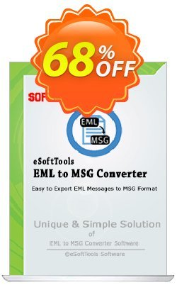 eSoftTools EML to MSG Converter Coupon, discount Coupon code eSoftTools EML to MSG Converter - Personal License. Promotion: eSoftTools EML to MSG Converter - Personal License offer from eSoftTools Software
