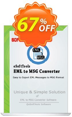 eSoftTools EML to MSG Converter - Enterprise License Coupon, discount Coupon code eSoftTools EML to MSG Converter - Enterprise License. Promotion: eSoftTools EML to MSG Converter - Enterprise License offer from eSoftTools Software