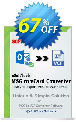 eSoftTools MSG to vCard Converter - Corporate License Coupon, discount Coupon code eSoftTools MSG to vCard Converter - Corporate License. Promotion: eSoftTools MSG to vCard Converter - Corporate License offer from eSoftTools Software