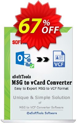eSoftTools MSG to vCard Converter - Techcnician License Coupon, discount Coupon code eSoftTools MSG to vCard Converter - Techcnician License. Promotion: eSoftTools MSG to vCard Converter - Techcnician License offer from eSoftTools Software