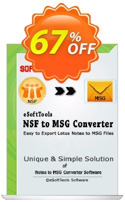 eSoftTools NSF to MSG Converter - Corporate License Coupon, discount Coupon code eSoftTools NSF to MSG Converter - Corporate License. Promotion: eSoftTools NSF to MSG Converter - Corporate License offer from eSoftTools Software