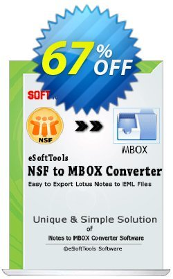eSoftTools NSF to MBOX Converter - Corporate License Coupon, discount Coupon code eSoftTools NSF to MBOX Converter - Corporate License. Promotion: eSoftTools NSF to MBOX Converter - Corporate License offer from eSoftTools Software