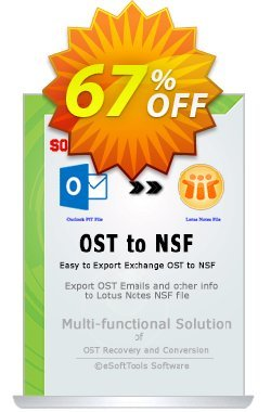 eSoftTools OST to NSF Converter - Corporate License Coupon, discount Coupon code eSoftTools OST to NSF Converter - Corporate License. Promotion: eSoftTools OST to NSF Converter - Corporate License offer from eSoftTools Software