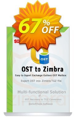 eSoftTools OST to Zimbra Converter - Corporate License Coupon, discount Coupon code eSoftTools OST to Zimbra Converter - Corporate License. Promotion: eSoftTools OST to Zimbra Converter - Corporate License offer from eSoftTools Software