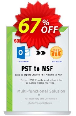 eSoftTools PST to NSF Converter - Enterprise License Coupon, discount Coupon code eSoftTools PST to NSF Converter - Enterprise License. Promotion: eSoftTools PST to NSF Converter - Enterprise License offer from eSoftTools Software