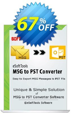 eSoftTools MSG to PST Converter - Corporate License Coupon, discount Coupon code eSoftTools MSG to PST Converter - Corporate License. Promotion: eSoftTools MSG to PST Converter - Corporate License offer from eSoftTools Software