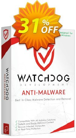 Watchdog Anti-Malware 2 year / 3 PC Coupon discount 30% OFF Watchdog Anti-Malware 3 year / 3 PC, verified - Awesome offer code of Watchdog Anti-Malware 3 year / 3 PC, tested & approved