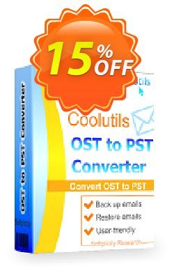 Coolutils OST to PST Converter Coupon, discount 15% OFF Coolutils OST to PST Converter, verified. Promotion: Dreaded discounts code of Coolutils OST to PST Converter, tested & approved