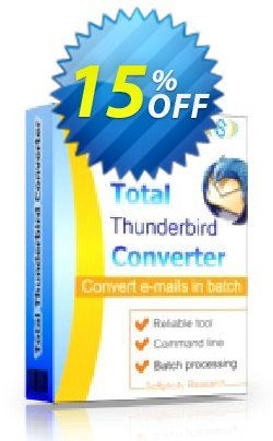 Coolutils Total Thunderbird Converter Pro - Server License  Coupon discount 15% OFF Coolutils Total Thunderbird Converter Pro (Server License), verified. Promotion: Dreaded discounts code of Coolutils Total Thunderbird Converter Pro (Server License), tested & approved