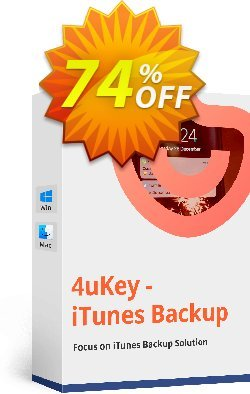 4uKey - iPhone Backup Unlocker Coupon, discount 10% Tenorshare 29742. Promotion: