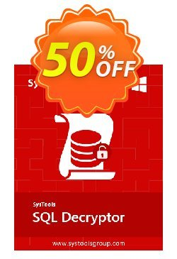 SQL Decryptor - Personal License Coupon, discount SysTools coupon 36906. Promotion: