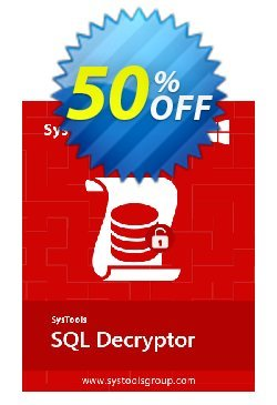 SysTools SQL Decryptor - Business  Coupon discount SysTools coupon 36906. Promotion:
