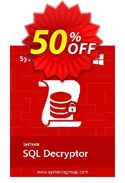 SQL Decryptor - Business License Coupon, discount SysTools coupon 36906. Promotion: