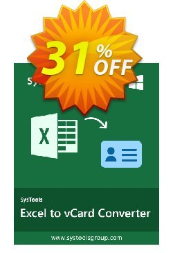 Excel to vCard - Personal License Coupon, discount SysTools coupon 36906. Promotion: