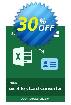 Excel to vCard - Enterprise License Coupon, discount SysTools coupon 36906. Promotion: