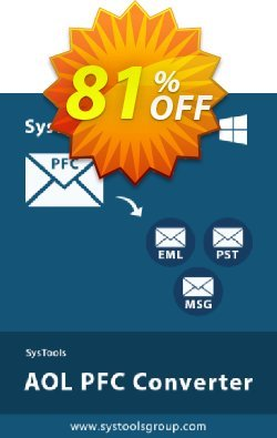 SysTools AOL PFC Converter Coupon discount 80% OFF SysTools AOL PFC Converter, verified. Promotion: Awful sales code of SysTools AOL PFC Converter, tested & approved