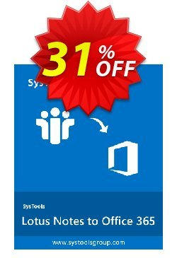 SysTools Lotus Notes to Office 365 Migration - 6+ User Licenses  Coupon discount SysTools Summer Sale - awesome offer code of SysTools Lotus Notes to Office 365 2020