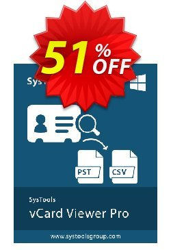 SysTools vCard Viewer Pro Coupon, discount SysTools Summer Sale. Promotion: amazing sales code of SysTools vCard Viewer Pro 2020