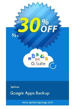 SysTools Google Apps Backup - 25 Users License Coupon discount 30% OFF SysTools Google Apps Backup - 25 Users License, verified - Awful sales code of SysTools Google Apps Backup - 25 Users License, tested & approved