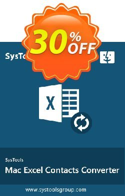 SysTools Mac Excel Contacts Converter Coupon discount 30% OFF SysTools Mac Excel Contacts Converter, verified. Promotion: Awful sales code of SysTools Mac Excel Contacts Converter, tested & approved