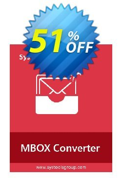 MBOX Converter - Personal License Coupon, discount SysTools coupon 36906. Promotion:
