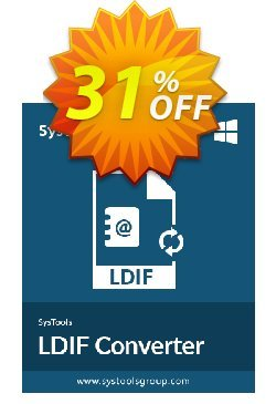 SysTools LDIF Converter Coupon, discount 30% OFF SysTools LDIF Converter, verified. Promotion: Awful sales code of SysTools LDIF Converter, tested & approved