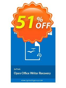 Open Office Writer Recovery - Personal License Coupon, discount SysTools coupon 36906. Promotion: