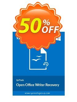 Open Office Writer Recovery - Enterprise License Coupon, discount SysTools coupon 36906. Promotion: