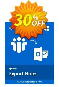 SysTools Export Notes Coupon, discount 30% OFF SysTools Export Notes, verified. Promotion: Awful sales code of SysTools Export Notes, tested & approved