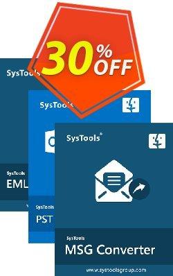 Bundle Offer: SysTools Mac MSG Converter + Mac PST Converter + Mac EML Converter Coupon discount 30% OFF Bundle Offer: SysTools Mac MSG Converter + Mac PST Converter + Mac EML Converter, verified - Awful sales code of Bundle Offer: SysTools Mac MSG Converter + Mac PST Converter + Mac EML Converter, tested & approved