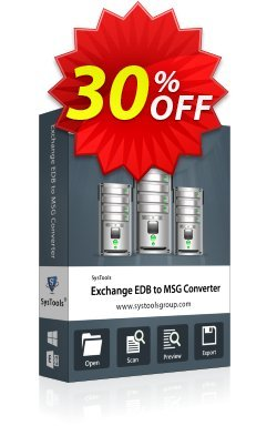 Exchange EDB to MSG Converter - Personal License Coupon, discount SysTools coupon 36906. Promotion:
