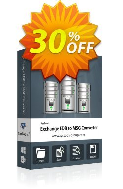 Exchange EDB to MSG Converter - Business License Coupon, discount SysTools coupon 36906. Promotion: