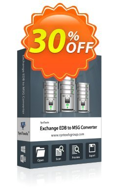 Exchange EDB to MSG Converter - Enterprise License Coupon, discount SysTools coupon 36906. Promotion: