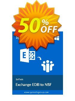 Exchange EDB to NSF Converter - Personal License Coupon, discount SysTools coupon 36906. Promotion: