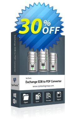 Exchange EDB to PDF Converter - Personal License Coupon, discount SysTools coupon 36906. Promotion: