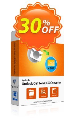 Outlook OST to MBOX Converter - Personal License Coupon, discount SysTools coupon 36906. Promotion: