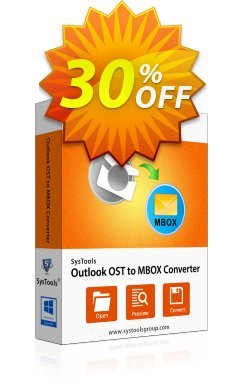Outlook OST to MBOX Converter - Business License Coupon, discount SysTools coupon 36906. Promotion: