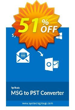 MSG to PST Converter - Personal License Coupon, discount SysTools coupon 36906. Promotion: