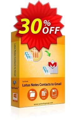 Lotus Notes Contacts to Gmail - Personal License Coupon, discount SysTools coupon 36906. Promotion: