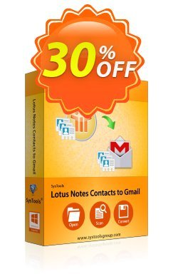 Lotus Notes Contacts to Gmail - Business License Coupon, discount SysTools coupon 36906. Promotion:
