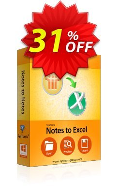 SysTools Notes to Excel Coupon discount SysTools Summer Sale -