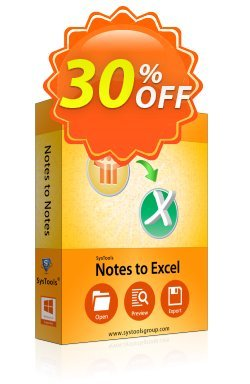 SysTools Notes to Excel - Business  Coupon discount SysTools coupon 36906. Promotion: