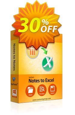 Notes to Excel - Business License Coupon, discount SysTools coupon 36906. Promotion: